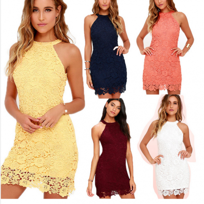 Yellow Halter Neck Short Lace Dress