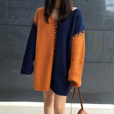 Color Block V-neck Long Sleeves Loo..