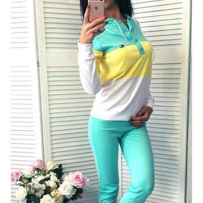 Pure Color Splicing Blouse with Ski..