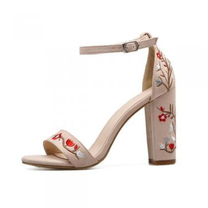 Suede Open-Toe Floral Embroidered A..