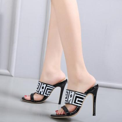 PU Peep-toe Summer Stiletto Heel Sl..