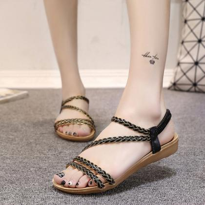 Rattan Grass Open Toe Ankle Strap F..