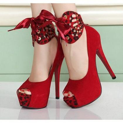 Peep Toe Platform Ankle Wraps High ..