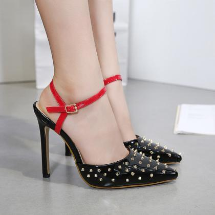 Rivets Pointed Toe Ankle Wrap Stile..