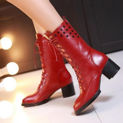 Rivets Lace Up Pointed Toe Middle C..