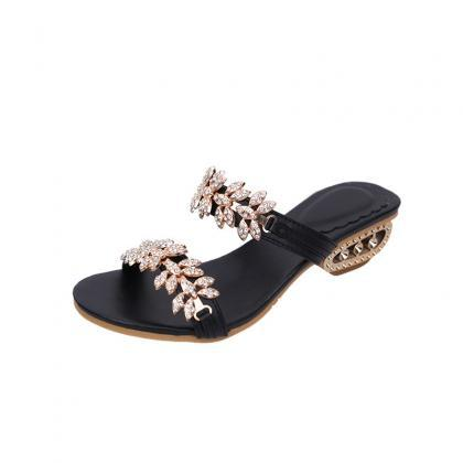 PU Slipper Pure Color Chunky Heel P..