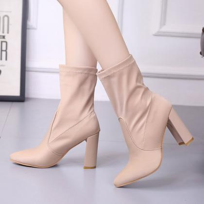 Suede Pure Color Chunky Heel Pionte..