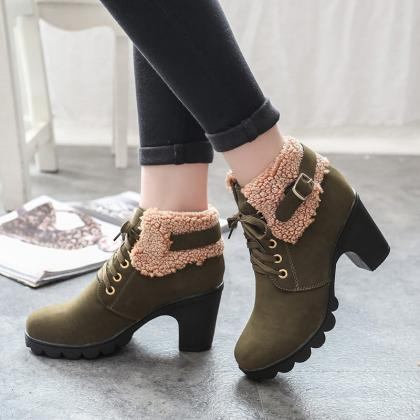 Cloth Pure Color Chunky Heel Round ..