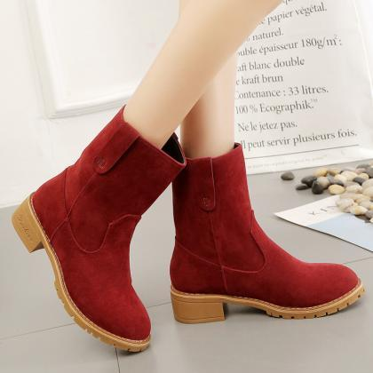 PU Chunky Heel Round Toe Pure Color..