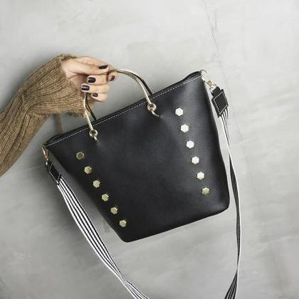 Fashion Wide Straps Rivet Decoratio..