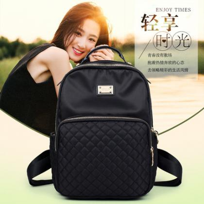 Concise Solid Color Nylon Women Bac..