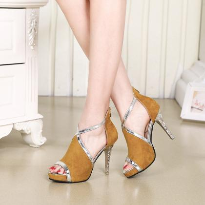 Shinning Cut Out Stiletto Heel Peep..