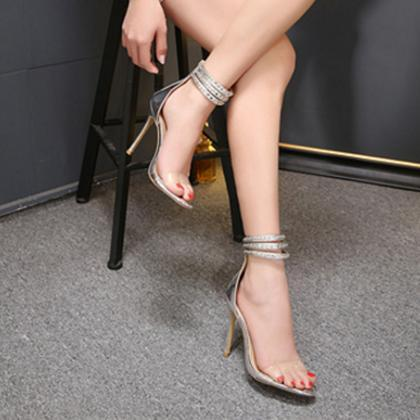 MetalChain Transparent Open Toe Ank..