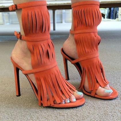 Tassels Candy Color Suede Open-toe ..