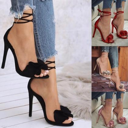 Ruffles Ankle Wrap Open Toe Stilett..