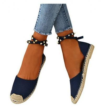 Patchwork Rivets Waves Flat Heel Ro..