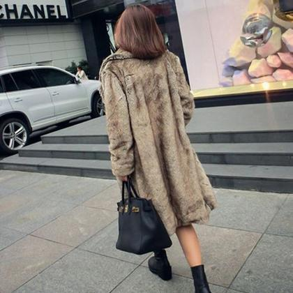 Lapel Collar Faux Fur Solid Color O..