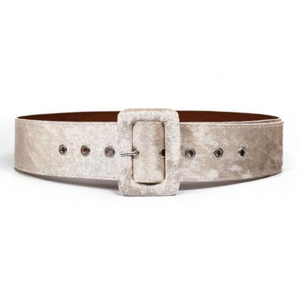 2019 Fashion Gold PU Velvet Belt