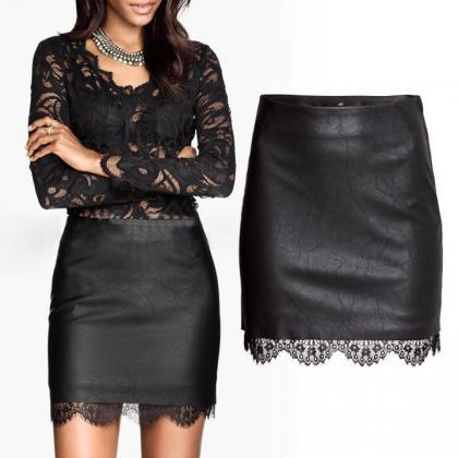 Synthetic Leather Lace Mini Skirt