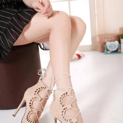 Suede Lace-Up Peep Toe High Heel St..