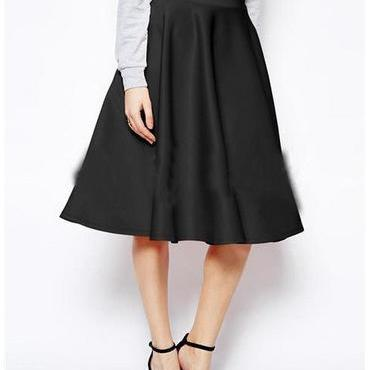 High Waist Pleated Solid Long Skirt..
