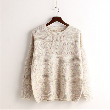 Colored Knit Pullover Scoop Sweet S..