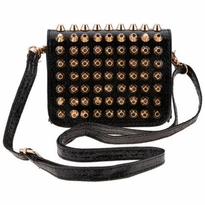 Synthetic Leather Rivets Embellishe..