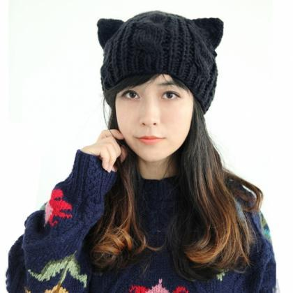 Women Horns Cat Ear Crochet Braided..