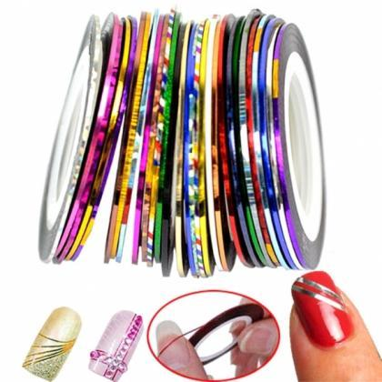 30Pcs Mixed Colors Rolls Striping T..