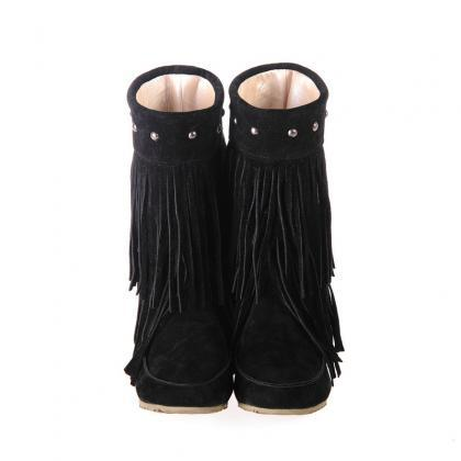 Women Suede Double Tiered Fringe Bo..