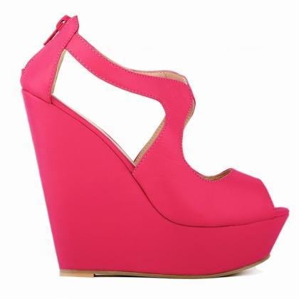 Sexy Peep-Toe High Wedges Club Sand..