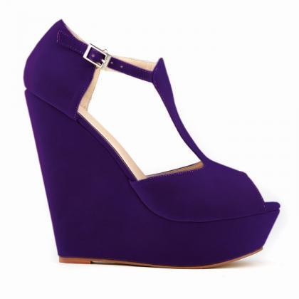High-Heeled Wedge Roman Peep-Toe Sa..