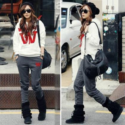 New Women Casual Coat+Pant Sweatshi..