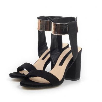 Metallic Ankle Strap Velcro High-He..