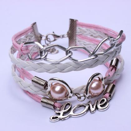 Sweet Pink Chain Heart Pearl Love B..