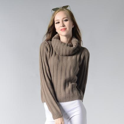 Pure Color High Collar Knitting Swe..