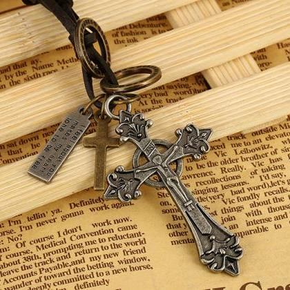 Hot leather alloy Cross Necklace