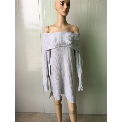 Pure Color Off Shoulder Side Slit L..
