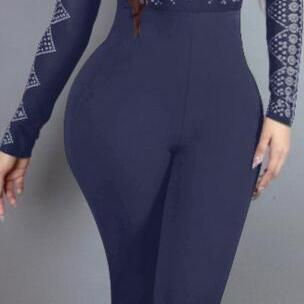 High Neck Print High Waist Slim Lon..