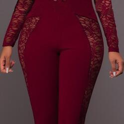 Lace Patchwork Long Sleeve Back Zip..
