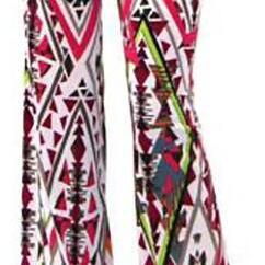 Color Geometry Print High Waist Wid..