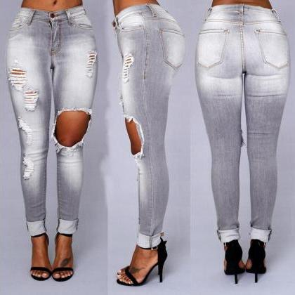 Fashion Low Waist Fading Rips Long ..