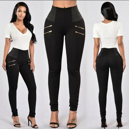 Elastic High Waist Zipper Slim Long..