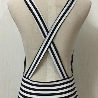 Summer Stripes Sexy Backless One Pi..