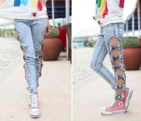 Free Shipping Stylish Hollow Bow Women's Skinny Pants