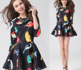 Bird Floral Print Mini A-line Dress