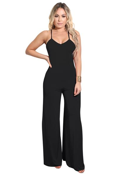 Pure Color Spaghetti Straps Long Back Cross Jumpsuit