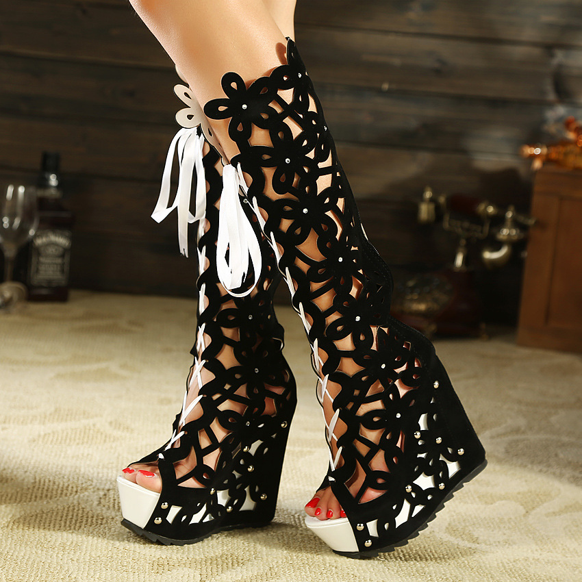 Cut Out Lace Up Peep Toe Platform Long Boot Wedge Sandals