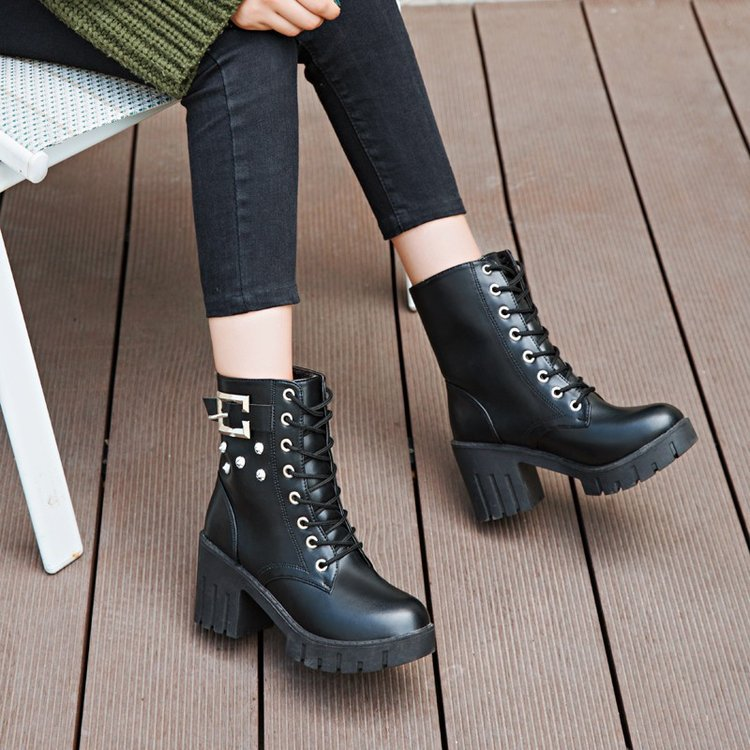 PU Belt Buckle Pure Color Chunky Heel Round Toe Short Boots