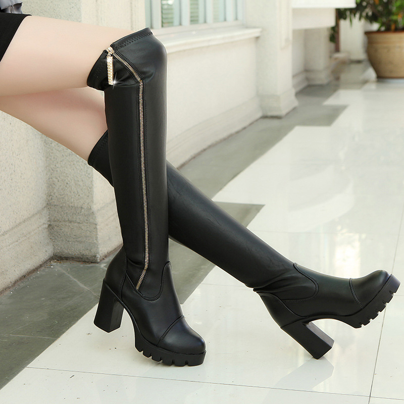 PU Pure color Zipper Chunky Heel Round Toe Boots